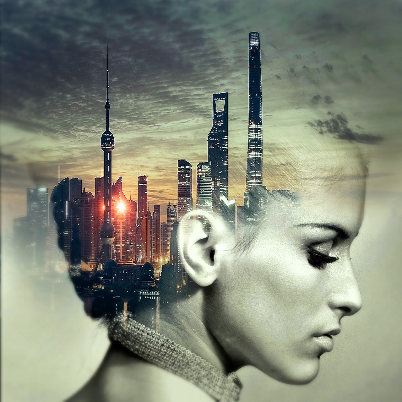 cd cover, head, city